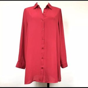 Chico's Long TunicTop Shirt Blouse 0 Raspberry Red